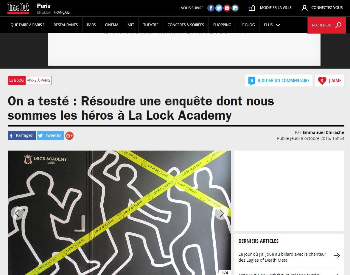 Article de presse de l'escape Game Lock Academy Paris sur Time Out