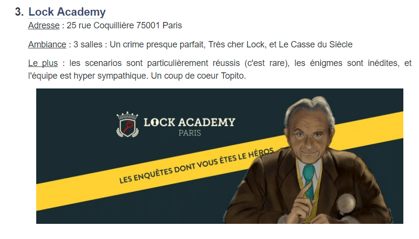 Avis Topito Lock Academy Escape Room Paris