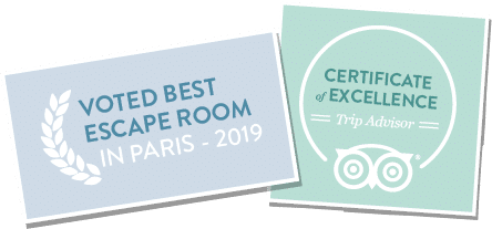 Award Best Escape Room Paris France 2019 - TripAdvisor